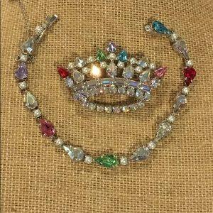 Vintage B.David Rhinestone Crown Brooch & Bracelet